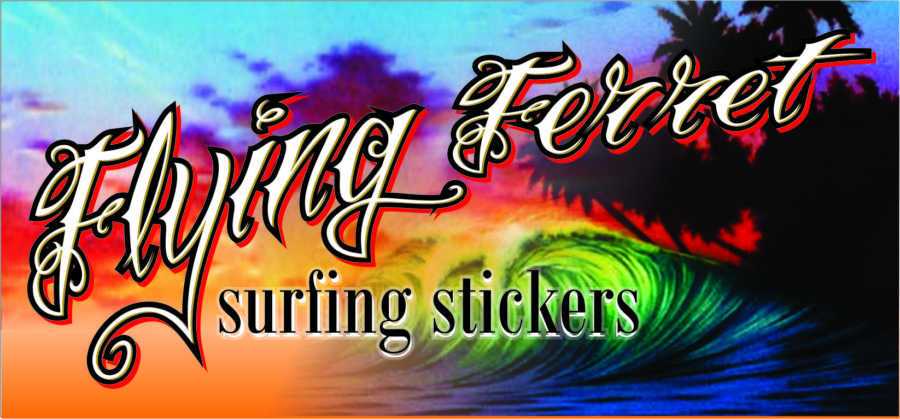 flying ferret surfing stickers – Sunshine coast-gold coast qld